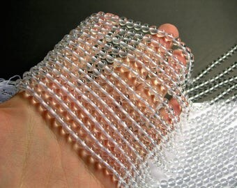 Clear quartz - 6mm round  - AA quality - 65 beads per strand - full strand - RFG474