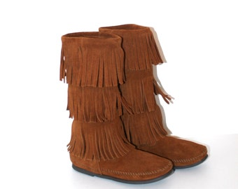 Vintage Brown Leather MINNETONKA Leather Moccasin Boots . Three Tiers of Fringe .  Boho Hippie .  Fabulous Condition . Size 7