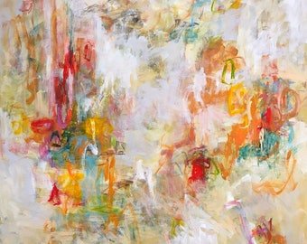 Large abstract expressionist original painting - Spring is Best 48 x 60