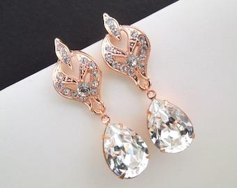 Rose Gold Bridal Earrings Crystal Wedding Earrings Swarovski crystal  Earrings Art Deco Rhinestone Chandelier Bridal Earrings Rose Gold ALLY