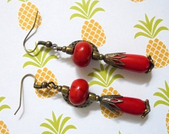 Red and Brass Boho Ethnic Earrings (3522)