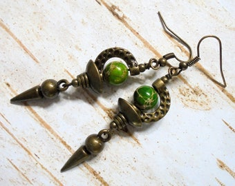 Green and Brass Boho Earrings (3567)