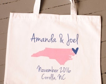 Custom Personalized State Wedding Tote Bag - wedding welcome bags, wedding favors, bridal party gifts