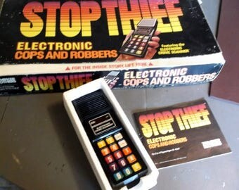 Vintage REPLACEMENT PARTS for the game Stop Thief Electronic Cops and Robbers 1979 Working Crime Scanner and Box and Gameboard  Instructions