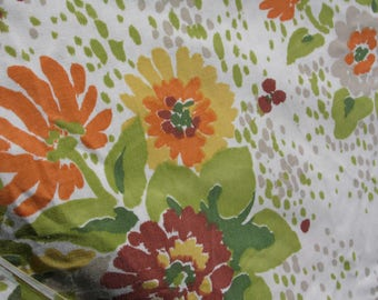 Edgemont vintage full sheet set with flat and fitted sheets floral with white background flowers in burgundy yellow orange green leaves