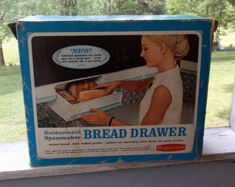 Bread Drawer Vintage 1968 New Old Stock NOS Rubbermaid Spacemaker Bread Drawer to Mount Under Cabinets White Plastic with Turquoise Stripe
