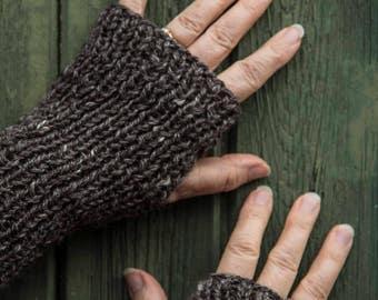 Fingerless Mittens. Handspun Charcoal Grey Alpaca and Silk mix yarn. Luxury Ribbed Hand Knit. Fall, Winter. Warm Women's Fashion Accessory.
