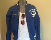 70s Bomber Jacket in Cobalt Cotton by Maple Athletic Sportswear Small