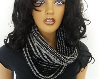 UNISEX Gray and black cowl / neck warmer / hand knit neck warmers