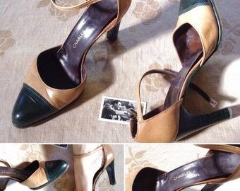 Charles Jourdan 70s maryjanes High Heels green/ beige leather vintage shoes US 6