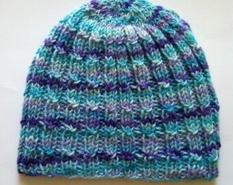 Hand Knit Beanie, Cute And Unique Hand Knit Wool Hat Multicolor, Knitted Adult, Girl's Women's Beanie Hat, Blue Hat, Blue Beanie, Handmade