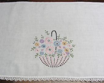 Vintage Hand Embroidered Umbrella Basket of Flowers Dresser Scarf With Crochet Trim