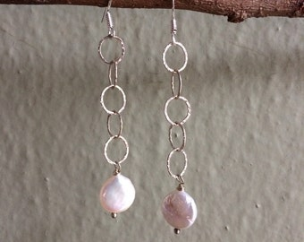 Sterling silver earrings Coin Pearl earrings iridescent pearl earrings dangle earrings drop earrings elegant earrings