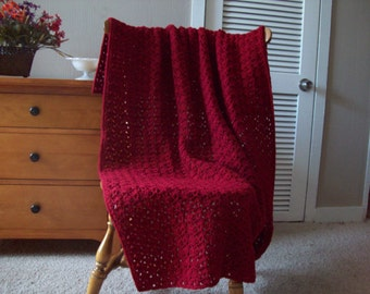 "Hand Crochet Throw Blanket in Country Rose, Afghan, 55""x39"" Solid color, couch sofa lap More colors @ CozyHomeCrochet"