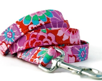 Pink and Purple Floral Dog Leash - Maui Garden Dog Leash - Your Choice of Length and Width