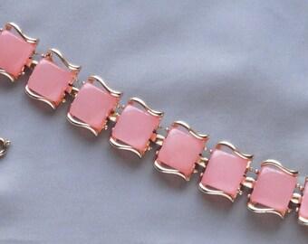 SALE - Vintage CORO PEGASUS 50'S Pink Moonglow Thermoset Tile Bracelet