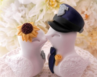 Wedding Cake Topper, Love Birds, Police Officer Couple, White and Navy with a Sunflower, Bride and Groom Keepsake, Fully Custom