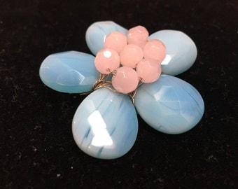 Floral Brooch Handmade Blue Faceted Stones Pink Flower Vintage Jewelry