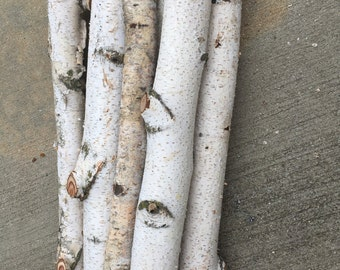 """Set of 8 White Birch Logs 18"""" long and 1 1/2"""" to 2 1/2""""  in diameter Fireplace and wedding decorations"""