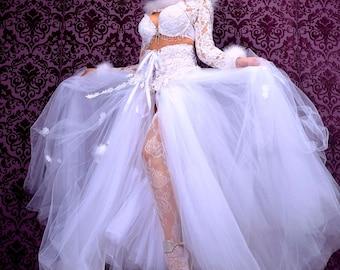 Winter White Wedding, White Wedding Bustle, Alternative Wedding, White Steampunk Bustle, One Of A Kind Wedding Dress,White Corset Skirt