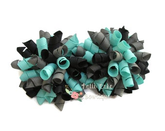 Korker Bows, Aqua, Black and Gray Hair Bows, Baby Girls Hair Bows, Baby Bows, Curly Bows, Hair Bow Clips, Toddler Hair Bows, Hair Clips