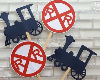 Choo Choo Train and Rail Road Crossing Cupcake Toppers in Red and Navy Blue
