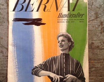 Vintage 1953 Bernat Handicrafter Yarn Knitting Pattern Book 37