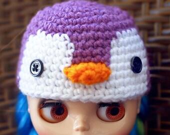 Purple Penguin Blythe Doll Hat, Blythe Doll Penguin Beanie, Blythe Doll Crochet Hat, Cute Penguin Blythe Hat, Purple Blythe Doll Beanie