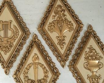 Vintage Homco Diamond Wall Decor / Homco Diamond / White Diamond / 70's Decor, White wall decor, Shabby Chic Decor, Vintage Porch Decor