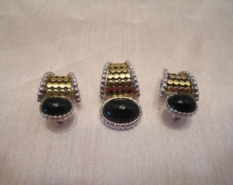 Vintage Pendant Slider and Earrings Set of 3 Pieces - Statement Jewelry - Black Cabochon Goldtone and Silvertone Metals