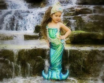 Toddler-Girls Ariel Little Mermaid Costume, Full Length, Realistic Look, Quilted Fluke, Fish Net, Shells, Sea Horses, Shell Crown Included