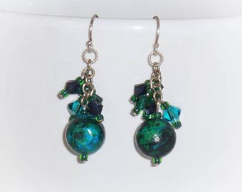 Blue Green Teal Earrings, Yellow Turquoise, Made with Swarovski Crystals, Cluster Earrings, Teal Turquoise Blue, What's in a Name Earrings