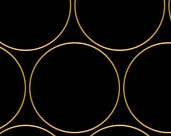 Gold Metalic Circle Outline Black Fabric Quilting Weight textile, Designed Cotton, Night Fall Collection, Camelot Design - by the yard