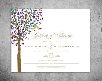 PRINTED | Custom Marriage Certificate, Wedding Certificate, Quaker Marriage Certificate, Wedding Keepsake, Officiant Gift, Wedding Sign