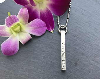 Silver Bar Necklace - Mothers Day Gift - Hand Stamped Bar Necklace - Personalised Necklace - Gift for her - Gift for Mum