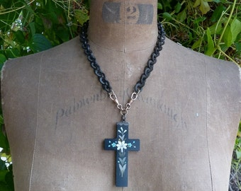 Victorian Mourning Cross Necklace, The Goddess Cross, by RusticGypsyCreations
