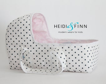 Doll baby doll carrier LARGE polka dot - doll bassinet crib bunting bag baby basket