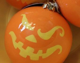 Christmas Ceramic Ornament Jack-o'-lantern Face in Orange and Yellow Ball Ornament