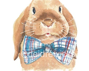 Rabbit Watercolor PRINT - Watercolour Painting, 5x7 Print, Bunny Rabbit, Lop Earred, Plaid Bowtie, Nursery Art, Rabbit Illustration