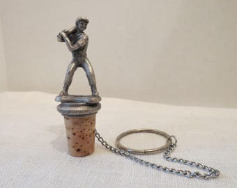 Baseball Player Batter Pewter & Cork Wine Bottle Stopper