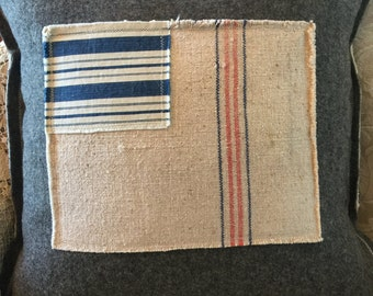 Pillow Cover Vintage Army Blanket and Grain Sack  Flag by Gathered Comforts