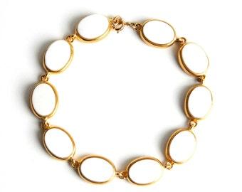 """Vintage Gold and White Chain Link Bracelet - Bezel Set - Bridal - Wedding - 7 1/4"""" - 1970"""