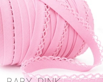 Solid light baby pink crochet picot edged bias tape Zakka