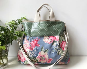 Waterproof-2 way Cross Body Bag /Fall Messenger Bag / Diaper bag / Handbag / Tote / Leather straps / Women messenger / Travel bag-floral