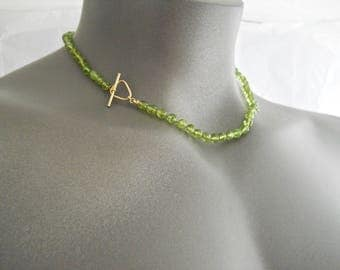Peridot Necklace, Peridot Jewelry, Green Choker, August Birthstone, 14 Kt, Gemstone Beaded Necklace, Lime Green Necklace, Unique Toggle