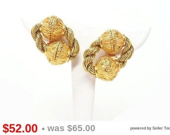 Vintage Mesh Chain & Ball Earrings Clip on Signed Mosell - Gold Tone Designer Signed Jewelry