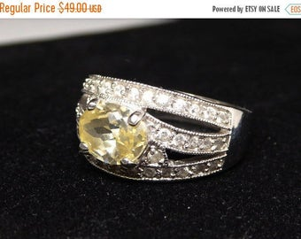 Sterling Silver Ring with Oval Citrine Yellow Colored Crystal Glass Rhinestone - Clear Rhinestones - November Birthstone - Vintage 1990's
