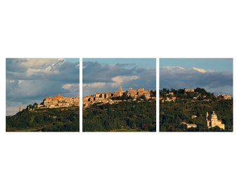 """TRIPTYCH Fine Art Color Photography of Tuscany Landscape and Hill Town - """"View Of Montepulciano"""""""