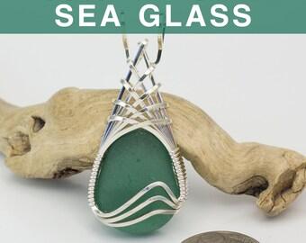 Viridian English Sea Glass Pendant