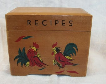 Vintage Wood Roosters Rooster Recipe Box with Dividers